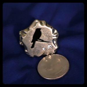 Jewelry - Black bird elastic ring with CZs. Silver.